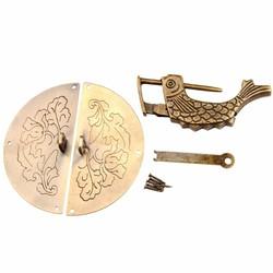 MyXL 1 St Antieke Bronzen Chinese Oude Lock + 1 St Vintage Houten Doos Meubels Kast Pull Handvat Accessoires Retro Hardware