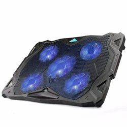 "MyXL TeckNet Rustige Laptop Cooling Pad Stand Met 5 Fans op 1500 RPM en Blauw LED Laptop Koeler past 12 ""-17"", verstelbare Windsnelheid"