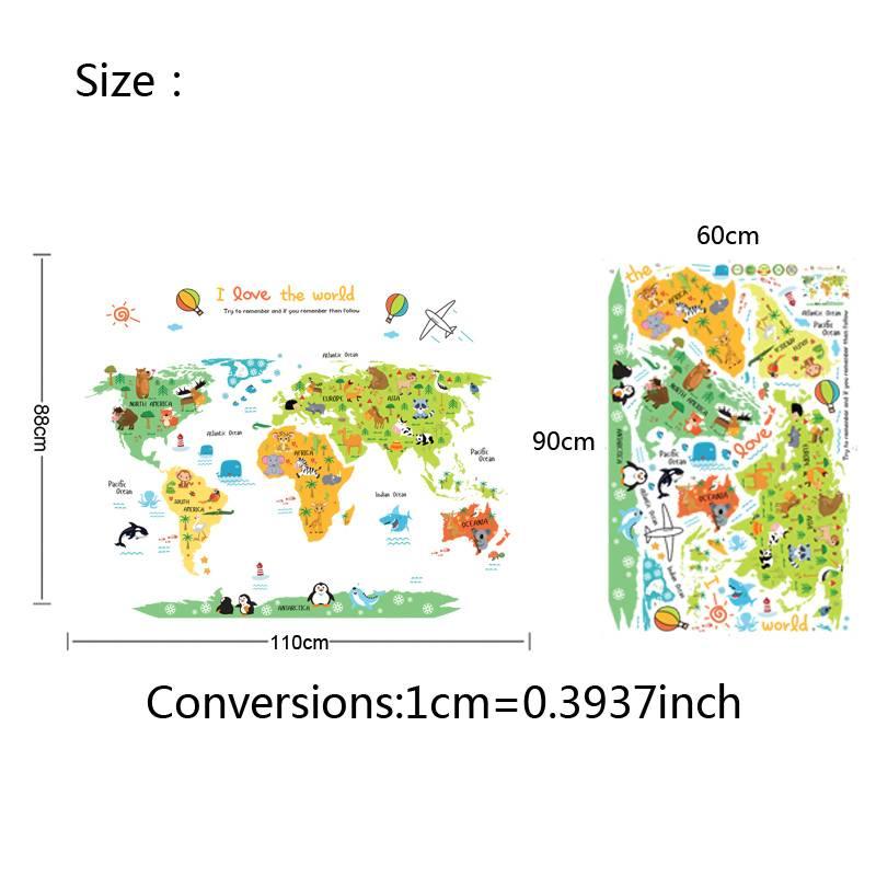 Cartoon wereldkaart PVC DIY Zelfklevende Vinyl Muurstickers slaapkamer Interieur voor Kinderkamer De