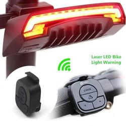 MyXL X5 Smart Achter Fietslicht Fiets Lamp Laser LED USB Oplaadbare Afstandsbediening Fietsen Draaien Staart Bycicle Licht