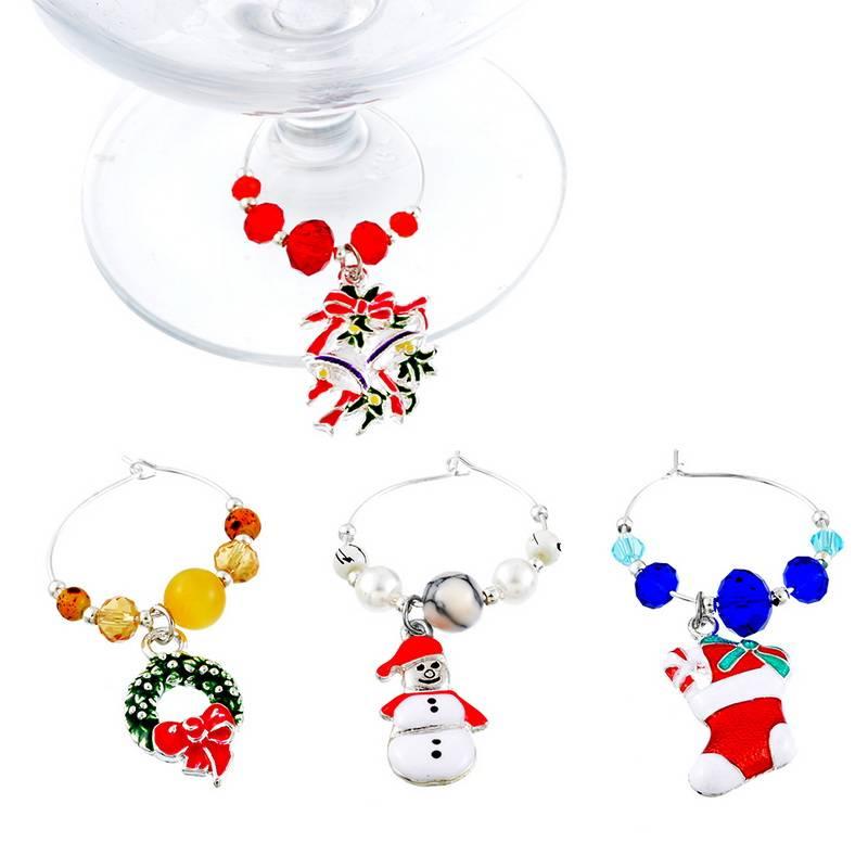 Urijk 6 Stks-doos Nieuwjaar Party Tafel Decoratie Kerstcadeau Ornamenten Wijn Makers Kerstversiering