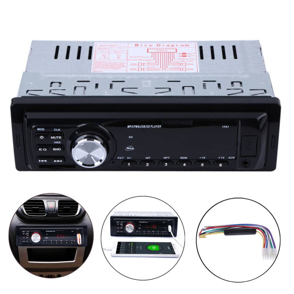 1 Din Auto Auto Radio Audio Stereo Mp3-speler In-Dash 5983 Ondersteuning FM SD AUX USB 4-Channel Voo