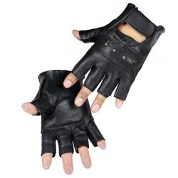 MyXL LongKeeperStijl Mens Schapen Leer Rijden Handschoenen Fitness Handschoenen Half Vinger Tactische Handschoenen Zwart Guantes Luva G232