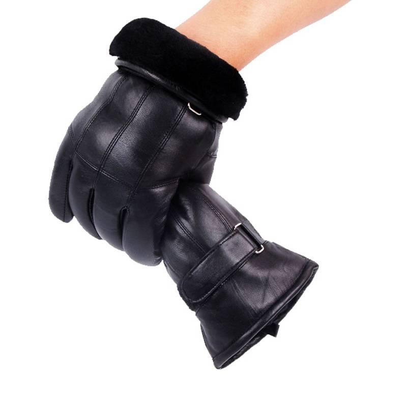 Heren Real Lederen Handschoenen Winter Handschoenen Lederen Trendy Schapenvacht Gentmen Luvas Guante