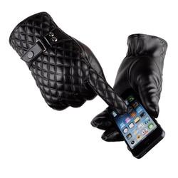 MyXL [Dexing] Zwart winter handschoenen mannen lederen Wanten Warm Houden Touchscreen Winddicht Rijden Handschoenen Mannelijke