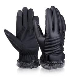 MyXL Vbiger Mannen Winter Warm Handschoenen Retro Verdikte PU Lederen Touchscreen Handschoenen Pluche Manchet Outdoors Anti-skid Handschoenen voor Mannen