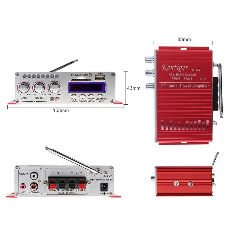 HY-502S 2-CH HI-FI Digitale Bluetooth Audio Speler Auto Versterker FM Radio Stereo Speler Ondersteun