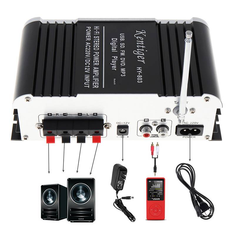 HY-803 DC12V 2CH FI Bluetooth Auto Audio Eindversterker FM Radio speler Ondersteuning SD-USB DVD-MP3