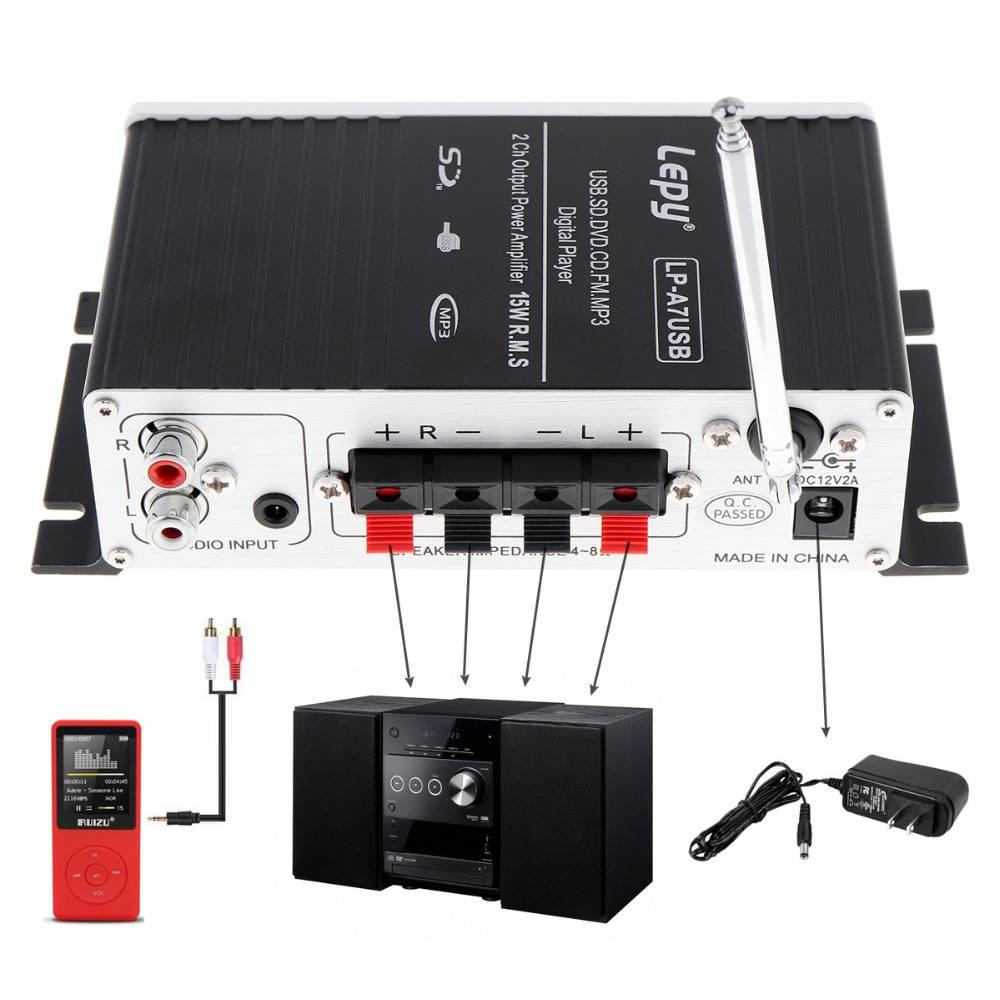 Mini Auto Eindversterker Digitale Speler Audio Versterker AMP ondersteuning USB SD DVD CD FM MP3 Inp