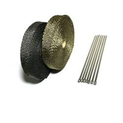 MyXL 15 m/50ft x 1 inch Lava Fiber Thermische Uitlaat Tape Uitlaat Wrap Hittebestendige Wrap Titanium Uitlaat Warmte Wrap Met Klemmen