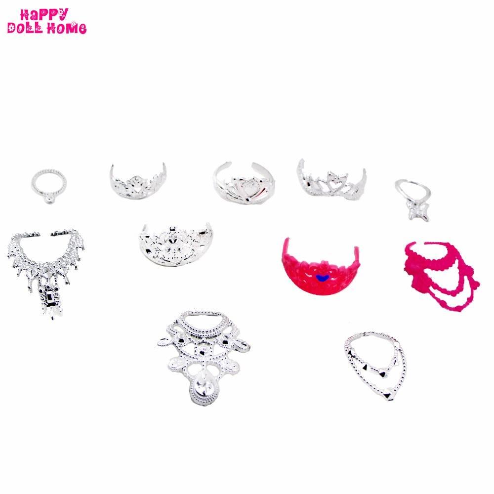 11 Stks-set Mode-sieraden Ketting Plastic Ketting Kroon Prinses Keizerin Accessoires Voor Barbie Pop