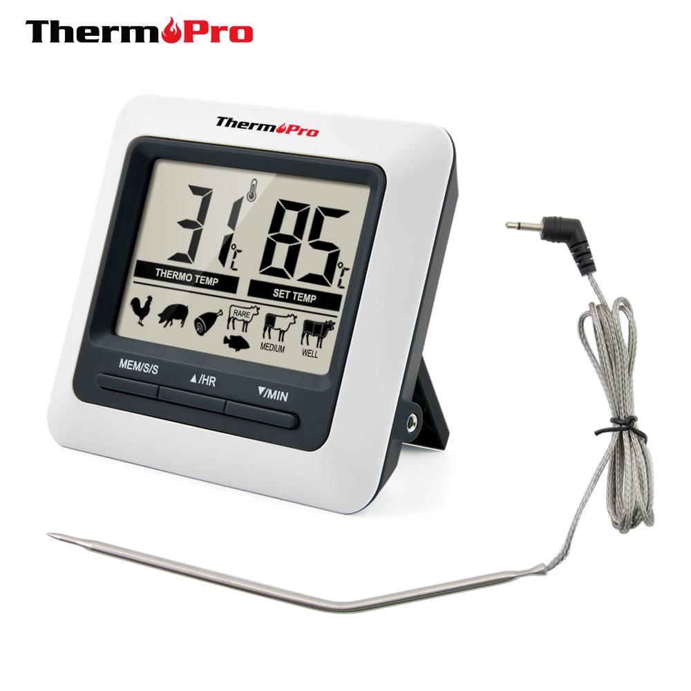 ThermoPro TP04 Grote LCD Digitale Vlees Koken Thermometer voor Grillen, Oven, BBQ, Roker met Rvs Pro