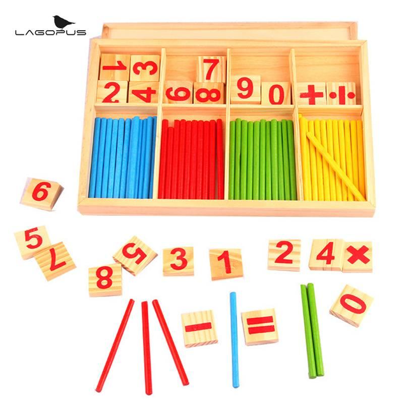 Montessori Math Speelgoed Houten Aantal Math Game Sticks Educatief Speelgoed Puzzel Kids Learning Leermiddelen Set Kind Verjaardagscadeau MyXL