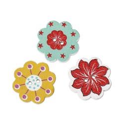 MyXL 50 StksNatuurlijke Houten Knoppen Kleurrijke Gemengde Bloemen Wave Rand Plakboek Naaien Accessoires DIY Craft 2 Gaten 20x19mm