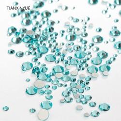 MyXL TIANXINYUE ss3-16 Mix Maten 1330 stks Aquamarijn Crystal nail Rhinestones Niet Hotfix Plaksteen lijm op Stof strass