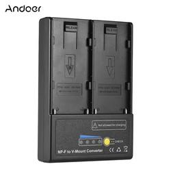 MyXL Andoer NP-F naar V-mount Batterij Converter Adapter Plaat met Dual Slot voor NP-F550 NP-F750 NP-F970 Serie