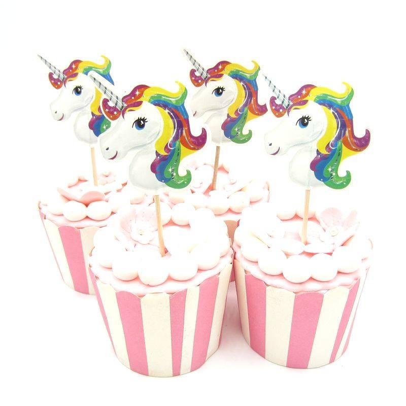 24 stks Eenhoorn Paard Cupcake Topper pick Bruiloft Decoratie Baby Shower Verjaardagsfeestje Levert