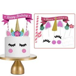 MyXL 1 set Handgemaakte Roze Eenhoorn Party Cupcake Decoratie Gelukkig Verjaardagsfeestje Vlag Baby Kinderen Party Decor Cake Decor