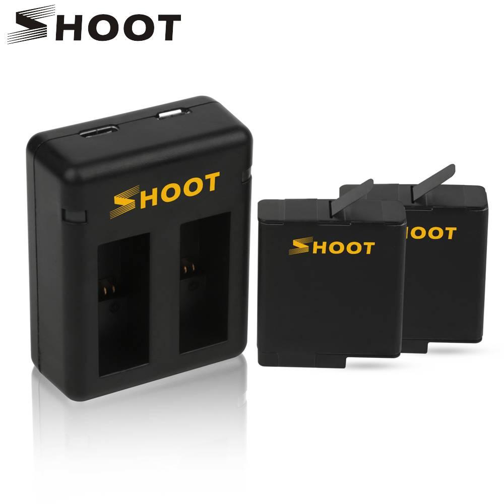SCHIETEN 2 stks Batterij en Dual Poort Batterij Oplader voor GoPro Hero 5 Zwart Camera Voor GoPro He