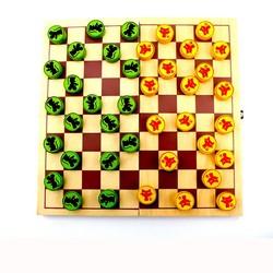 MyXL Internationale Checkers Schaakspel, Houten Materiaal Rooster Groen/Geel Schaakstuk Leuke Schaken Voor Kinderen Educatief