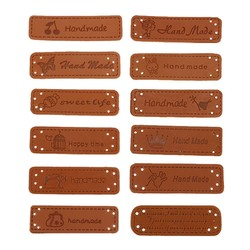 MyXL 12 stks Hand Made Etiketten voor Kleding Kledingstuk PU Leer Etiketten Handgemaakte Tags Jeans Tassen Schoenen Naaien Accessoires