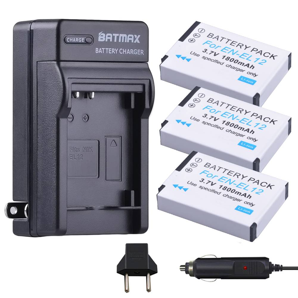 3 Packs van EN-EL12 Batterijen + Oplader Kits voor Nikon Coolpix A900, AW100, AW110, AW120, AW130, S