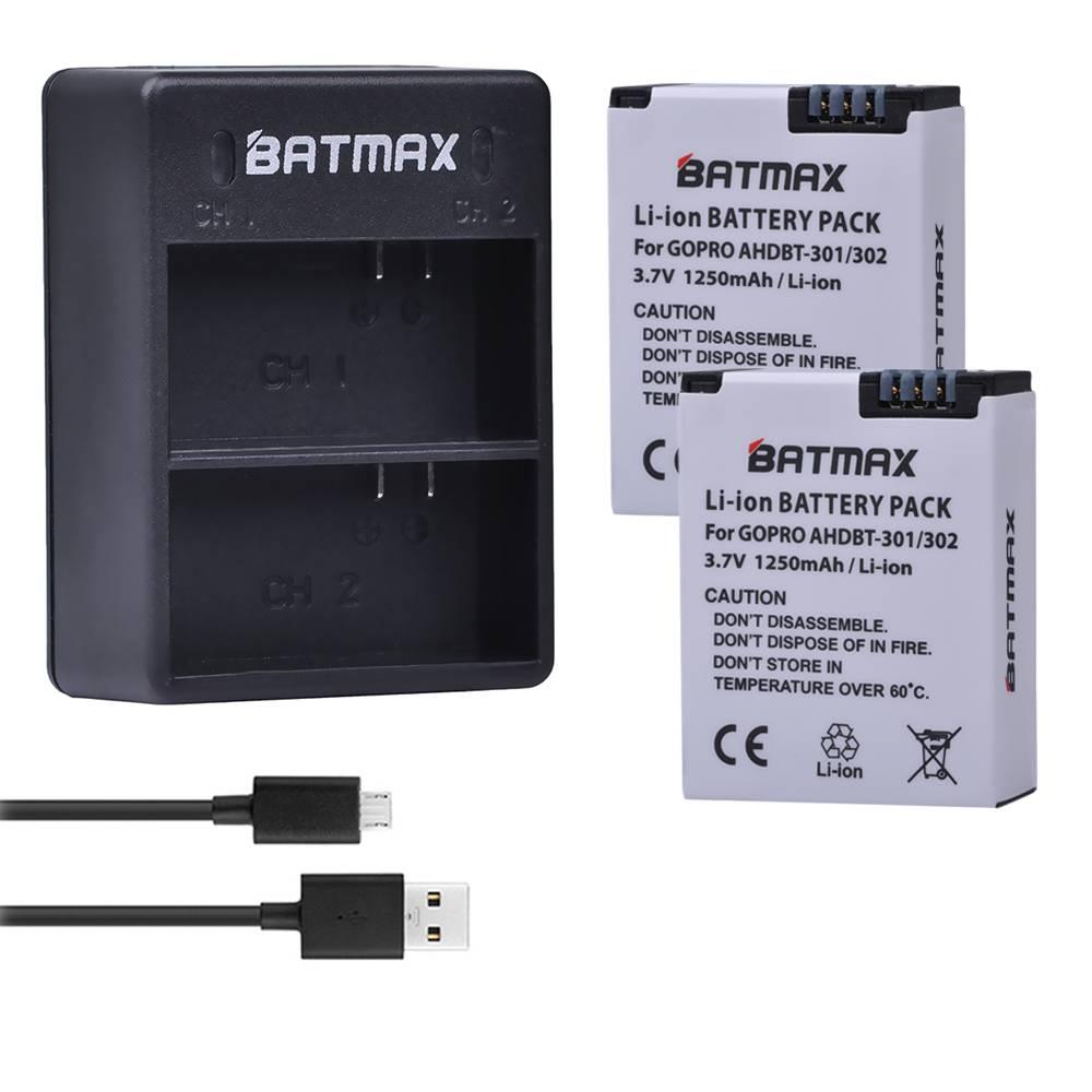 2 Stks Batterij + Dual USB Oplader Voor Go Pro Hero 3 3 + gopro3 gopro 3 Hero3 Batterijen Black Edit