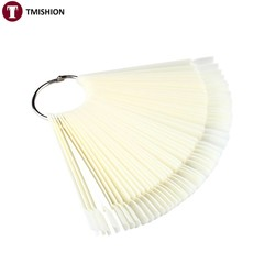 MyXL 50 stks Valse Nail Display Fan Board Nail Art Tips Polish UV Gel Decoratie Praktijk Ronde Hoop Display Stok Clear natuurlijke <br />  TMISHION