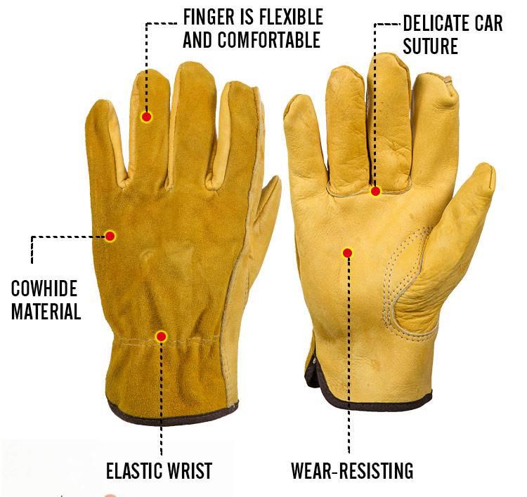 KOOPKoeienhuid mannen Werk Driver Handschoenen Security Bescherming Dragen Veiligheid Werknemers Las