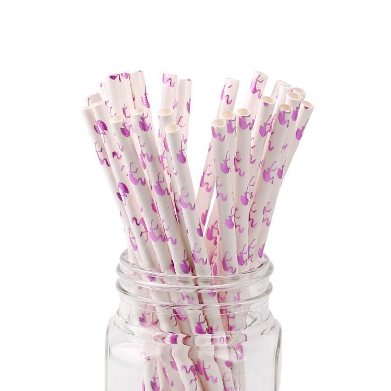 25 Stuks Flamingo Papier Rietjes Kerst Bruiloft Luau Decoratie Bruids Douche Feestartikelen Creatiev