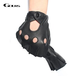 MyXL Gours winter heren lederen vingerloze handschoenen zwart en bruin half vinger gym workout fitness rijden mannelijke handschoenen gsm046