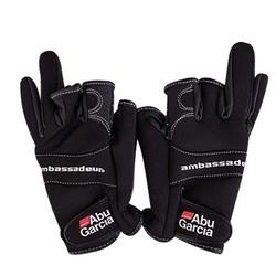 MyXL Lederen handschoenen voor vissen handschoen drie figner Hoogwaardige Aub Garcia stoffen Comfort Antislip Vissen vingerloze handschoenen