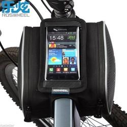 MyXL Roswheel 1.8L Fietsen Voor Tube Frame Bag Touchscreen Bike Pannier Fiets Dubbele Telefoon Pouch voor 4.8/5.5 inch Cellphone