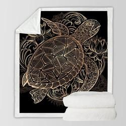 MyXL BeddingOutlet Dier Golden Tortoise Fluwelen Pluche Worp Deken Turtles Sherpa Deken voor Couch Bloemen Lotus Soft Gooi