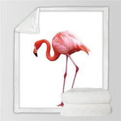 MyXL BeddingOutlet Girly Fluwelen Pluche Ultra Zachte Gooi Deken Schattige Flamingo Patroon Sherpa Gooi Deken Dier Gedrukt Wasbare