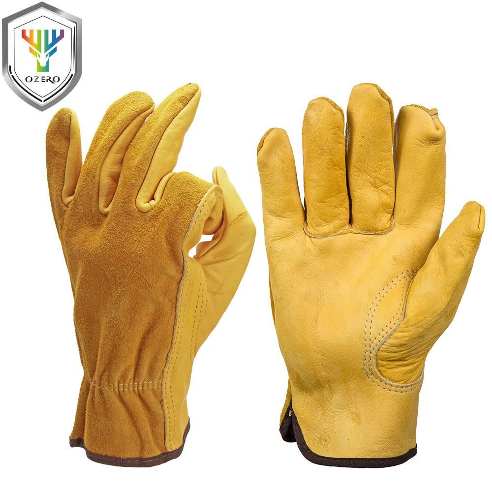 mannen Werk Handschoenen Koeienhuid Driver Beveiliging Bescherming Dragen Veiligheid Werknemers Lass