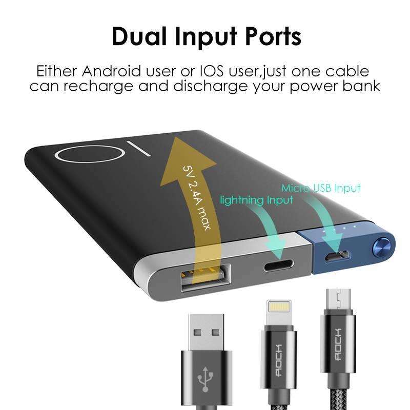 Power Bank 5000 Mah Draagbare Oplader Dual Input Poorten Powerbank Externe Batterij voor iPhone Sams