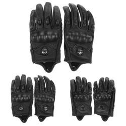 MyXL Mannen Motorhandschoenen Sporten Volledige Vinger Motorrijden Beschermende ArmorZwarte Korte Lederen Handschoenen