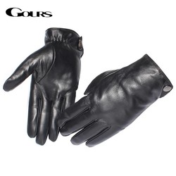 MyXL Gours mannen Lederen HandschoenenReal Schapenvacht Zwart Touchscreen Handschoenen Knop Winter Warme WantenGSM051