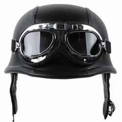 MyXL MAYITR Zwarte Motorfiets DOT Duitse Stijl Half Helm + Bril voor Harley Biker Pilot Unisex Motorhelmen M/L/Xl