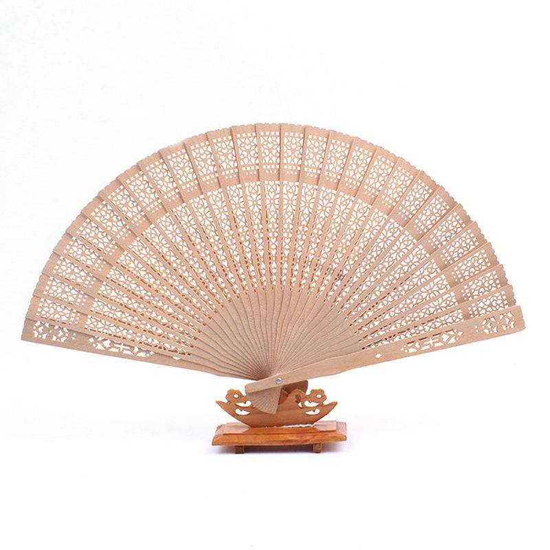 Bamboe Houten Fan Geurige 20 cm Woondecoratie Ambachten Zomer Art Vouwen Gesneden Hand Fans Vrouwen