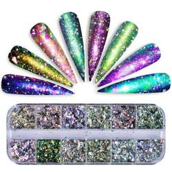 MyXL 1 Set 12 Grid Chameleon Nail Pailletten Onregelmatige Nail Glitter Pailetten Nail Vlokken Glitter Poeder voor UV Gel Polish SABSZ