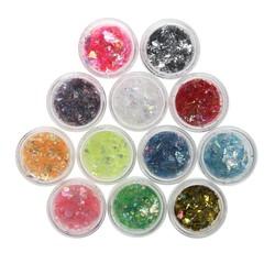 MyXL 12 Kleuren Vlokken Nail Glitter Poeder Bling Nail Poeder Shimmer Nail Art Glitter Stof Shell Poeder