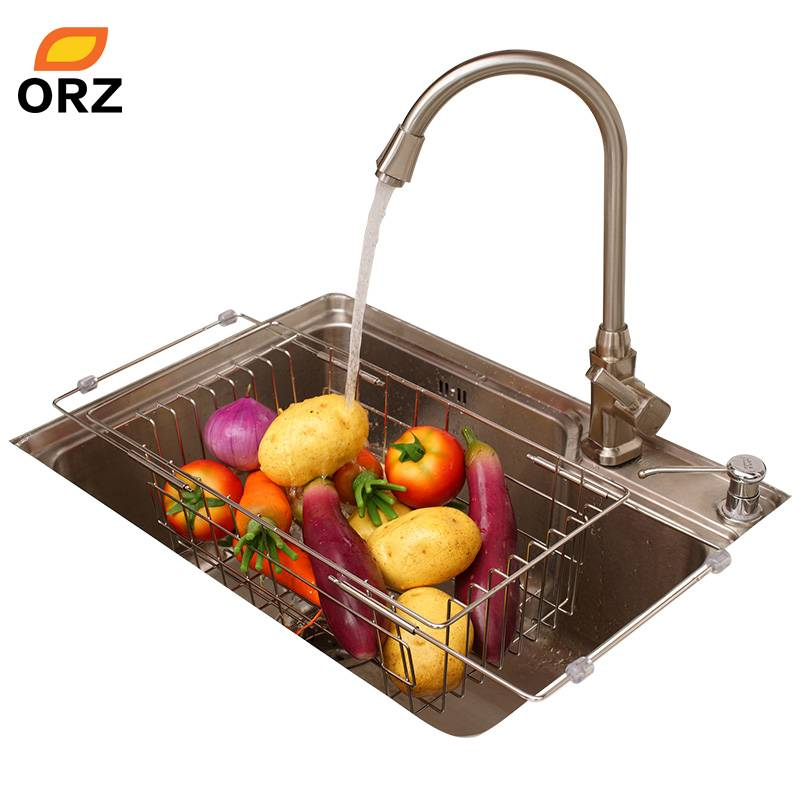 ORZ Keuken Fruit Groenten Aftappen Rack Rvs Verstelbare In-Sink Schotel Kom Afdruiprek Drogen Mand O