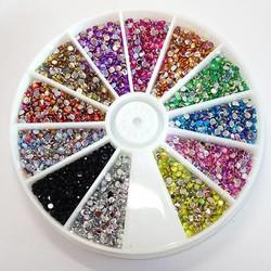 MyXL Glitter Decoratie 2mm Acryl Materiaal Gemengde 12 Kleuren Crystal AB Plaksteen Lijm op 3d Nail Art Rhinestones
