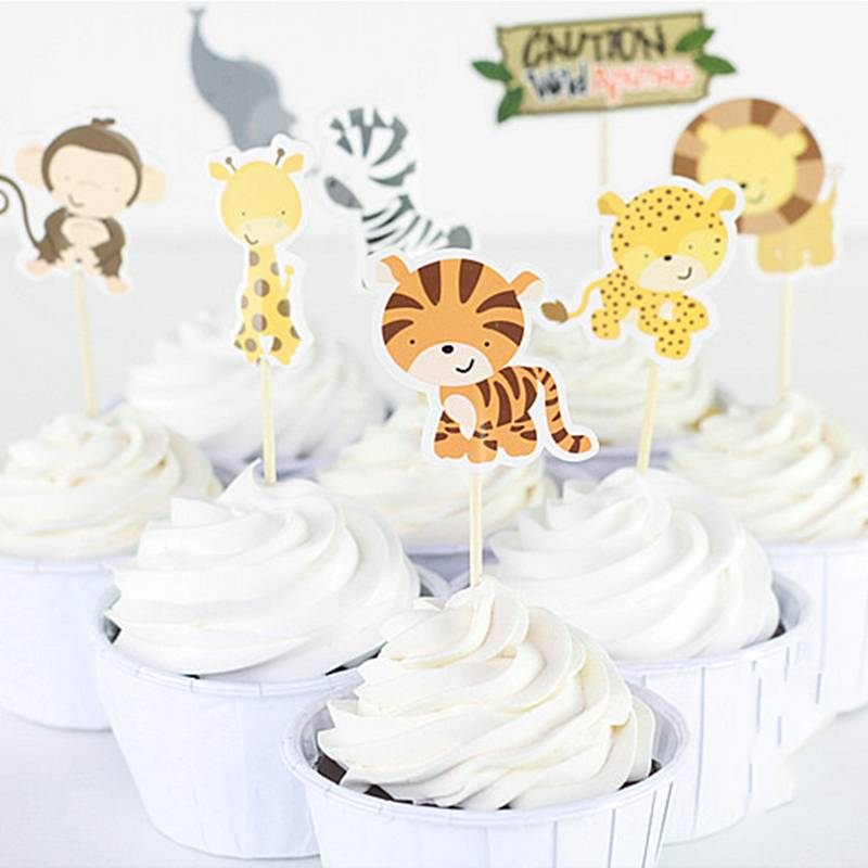 24 stks-pak Safari Wildlife Animal Party Cupcake Topper Picks Cake Decoratie voor Kinderen Verjaarda