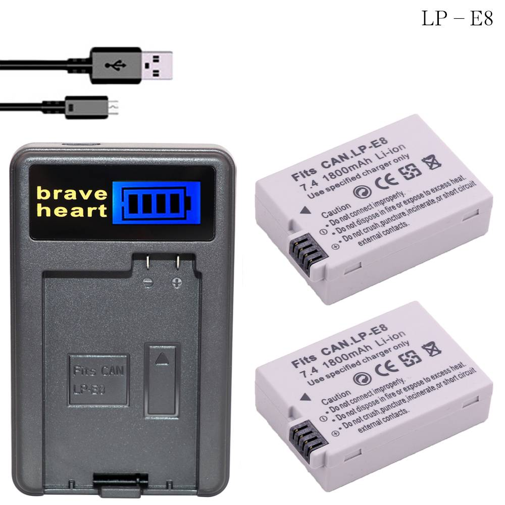 2 St LP-E8 LPE8 LP E8 Camera Bateria Batterie AKKU + LCD USB oplader voor canon eos 550d 600d 650d 7