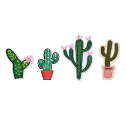 MyXL HoomallVerkoop Gemengde 4 Stks Patches Voor Kleding Jeans Ijzer Op Applicaties Geborduurde Stof Patch DIY Cactus Naaien Accessoires