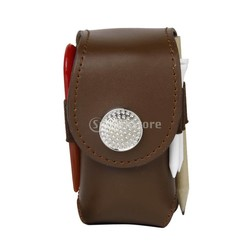 MyXL Mini Draagbare Lederen Clip Op Golfbal Houder Bag Houden 2 Ballen Golfer Aid ToolBruin