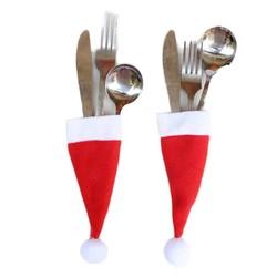 MyXL 10 stks/set Kerst Mini Fles Hoed Kerstversiering voor Thuis Hoed Zilverwerk Houder Mini Rode Kerstman Bestek Nieuwjaar